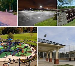 A collage of pictures of playground amenities like playground, pavilion, trail bridge, and parking lot for Rick Oden Park