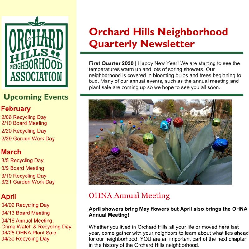 Orchard Hills Neighborhood Association Quarterly Newsletter